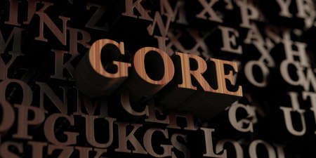 gore: Gore - Wooden 3D rendered lettersmessage.  Can be used for an online banner ad or a print postcard.
