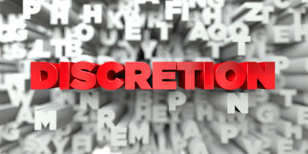 discretion: DISCRETION -  Red text on typography background - 3D rendered royalty free stock image. This image can be used for an online website banner ad or a print postcard. Stock Photo