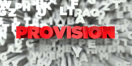 PROVISION -  Red text on typography background - 3D rendered royalty free stock image. This image can be used for an online website banner ad or a print postcard. Reklamní fotografie