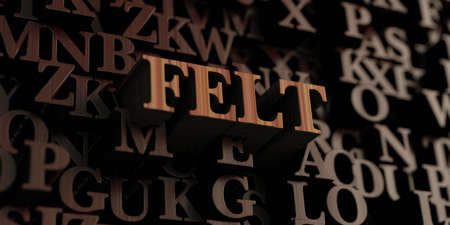 Felt - Wooden 3D rendered lettersmessage.  Can be used for an online banner ad or a print postcard.