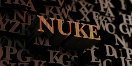 Nuke - Wooden 3D rendered lettersmessage.  Can be used for an online banner ad or a print postcard.