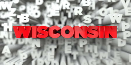 sentence typescript: WISCONSIN -  Red text on typography background - 3D rendered royalty free stock image. This image can be used for an online website banner ad or a print postcard. Stock Photo