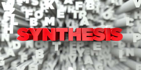 synthesis: SYNTHESIS -  Red text on typography background - 3D rendered royalty free stock image. This image can be used for an online website banner ad or a print postcard.