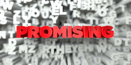 promising: PROMISING -  Red text on typography background - 3D rendered royalty free stock image. This image can be used for an online website banner ad or a print postcard.