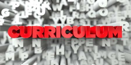 CURRICULUM - Texto rojo sobre fondo de tipografía - 3D representa la imagen de stock libre de derechos. Esta imagen se puede usar para un anuncio publicitario de un sitio web en línea o una postal impresa. Foto de archivo - 72133284