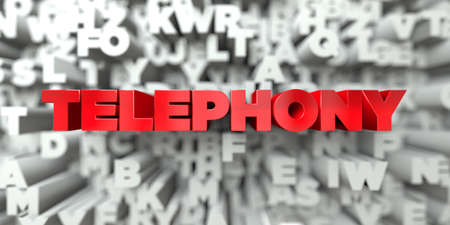 TELEPHONY -  Red text on typography background - 3D rendered royalty free stock image. This image can be used for an online website banner ad or a print postcard. Фото со стока