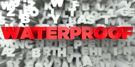 WATERPROOF -  Red text on typography background - 3D rendered royalty free stock image. This image can be used for an online website banner ad or a print postcard. Stock Photo