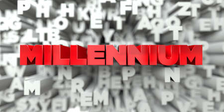MILLENNIUM -  Red text on typography background - 3D rendered royalty free stock image. This image can be used for an online website banner ad or a print postcard.