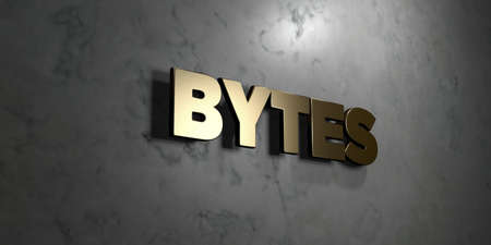 bytes: Bytes - Gold sign mounted on glossy marble wall  - 3D rendered royalty free stock illustration. This image can be used for an online website banner ad or a print postcard. Stock Photo