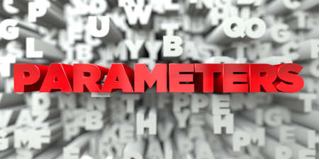 PARAMETERS -  Red text on typography background - 3D rendered royalty free stock image. This image can be used for an online website banner ad or a print postcard. Stock Photo