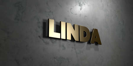 linda: Linda - Gold sign mounted on glossy marble wall  - 3D rendered royalty free stock illustration. This image can be used for an online website banner ad or a print postcard.