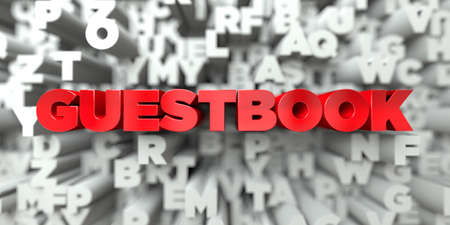 GUESTBOOK -  Red text on typography background - 3D rendered royalty free stock image. This image can be used for an online website banner ad or a print postcard.