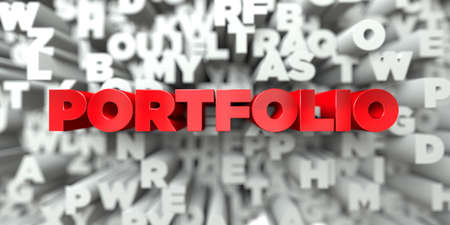 PORTFOLIO -  Red text on typography background - 3D rendered royalty free stock image. This image can be used for an online website banner ad or a print postcard. Stock Photo