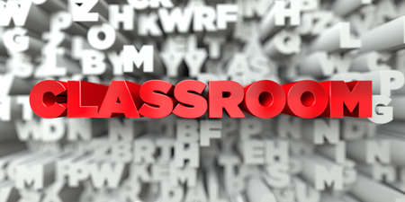 CLASSROOM -  Red text on typography background - 3D rendered royalty free stock image. This image can be used for an online website banner ad or a print postcard.
