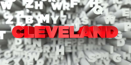 CLEVELAND -  Red text on typography background - 3D rendered royalty free stock image. This image can be used for an online website banner ad or a print postcard.