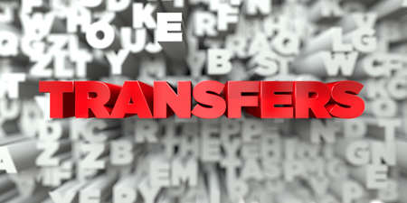 transfers: TRANSFERS -  Red text on typography background - 3D rendered royalty free stock image. This image can be used for an online website banner ad or a print postcard.