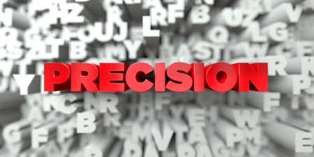 PRECISION -  Red text on typography background - 3D rendered royalty free stock image. This image can be used for an online website banner ad or a print postcard. 写真素材