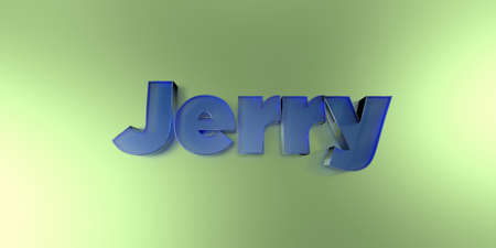 Jerry - colorful glass text on vibrant background - 3D rendered royalty free stock image.