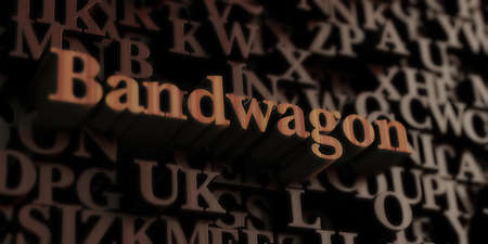 bandwagon: Bandwagon - Wooden 3D rendered lettersmessage.  Can be used for an online banner ad or a print postcard.