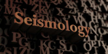 seismology: seismology - Wooden 3D rendered lettersmessage.  Can be used for an online banner ad or a print postcard.