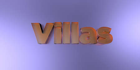 Villas - colorful glass text on vibrant background - 3D rendered royalty free stock image.