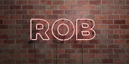 ROB - fluorescent Neon tube Sign on brickwork - Front view - 3D rendered royalty free stock picture. Can be used for online banner ads and direct mailers.