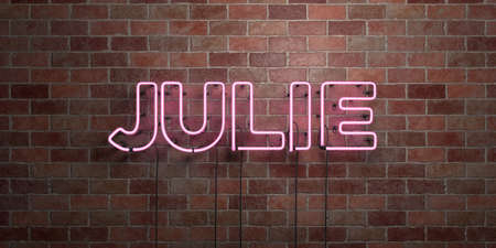julie: JULIE - fluorescent Neon tube Sign on brickwork - Front view - 3D rendered royalty free stock picture. Can be used for online banner ads and direct mailers.