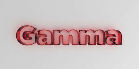 Gamma - Red glass text on white background - 3D rendered royalty free stock image.