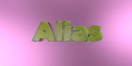 Alias - colorful glass text on vibrant background - 3D rendered royalty free stock image.