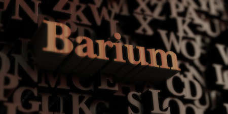 barium: Barium - Wooden 3D rendered lettersmessage.  Can be used for an online banner ad or a print postcard. Stock Photo