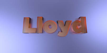 Lloyd - colorful glass text on vibrant background - 3D rendered royalty free stock image.