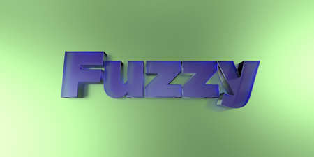 royalty free: Fuzzy - colorful glass text on vibrant background - 3D rendered royalty free stock image.