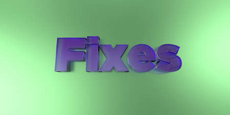 Fixes - colorful glass text on vibrant background - 3D rendered royalty free stock image.