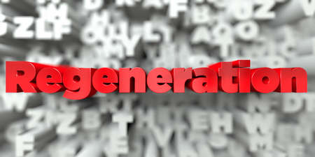 Regeneration -  Red text on typography background - 3D rendered royalty free stock image. This image can be used for an online website banner ad or a print postcard.