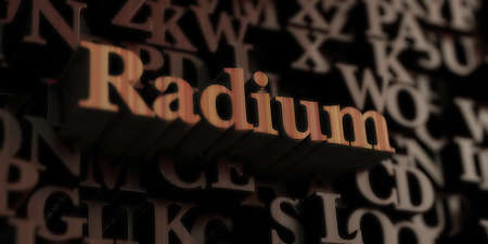 Radium - Wooden 3D rendered lettersmessage.  Can be used for an online banner ad or a print postcard. Stock Photo