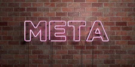 meta: META - fluorescent Neon tube Sign on brickwork - Front view - 3D rendered royalty free stock picture. Can be used for online banner ads and direct mailers.