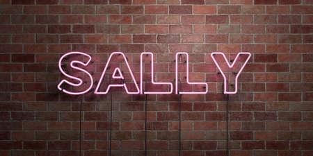 サリー - 蛍光ネオン管サイン レンガ - 前面ビュー - 3 D レンダリングされたロイヤリティ フリー ストック画像。オンライン バナー広告やダイレクト メールに使用できます。 写真素材 - 72555860