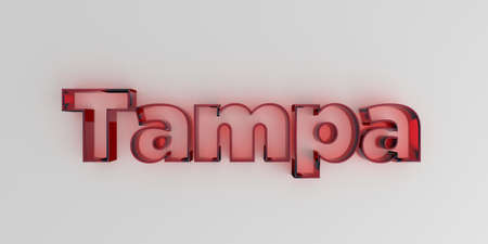 royalty free: Tampa - Red glass text on white background - 3D rendered royalty free stock image.