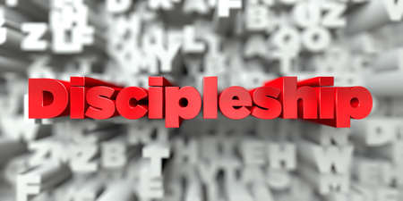 Discipleship -  Red text on typography background - 3D rendered royalty free stock image. This image can be used for an online website banner ad or a print postcard.