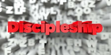 Discipulado - texto rojo sobre la tipografía de fondo - 3D prestados stock photo libre de derechos. Esta imagen se puede utilizar para un anuncio de banner de sitio web en línea o una postal de impresión.