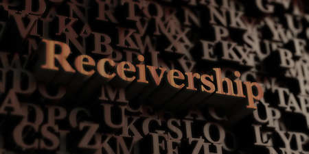 Receivership - Wooden 3D rendered letters/message. Can be used for an online banner ad or a print postcard. Zdjęcie Seryjne