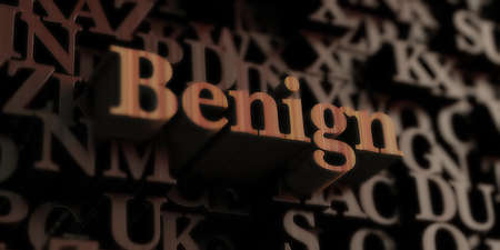 benign: benign - Wooden 3D rendered lettersmessage.  Can be used for an online banner ad or a print postcard.