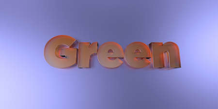 Green - colorful glass text on vibrant background - 3D rendered royalty free stock image.