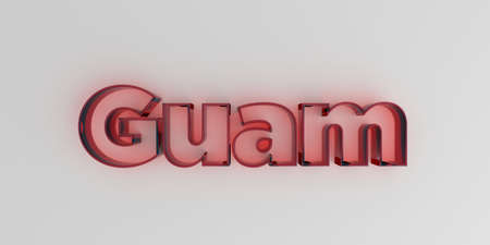 royalty free: Guam - Red glass text on white background - 3D rendered royalty free stock image. Stock Photo