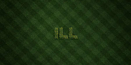be ill: ILL - fresh Grass letters with flowers and dandelions - 3D rendered royalty free stock image. Can be used for online banner ads and direct mailers.