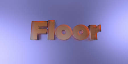 royalty free: Floor - colorful glass text on vibrant background - 3D rendered royalty free stock image. Stock Photo