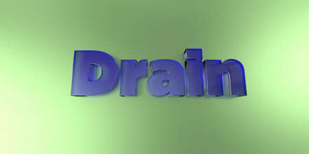 Drain - colorful glass text on vibrant background - 3D rendered royalty free stock image. 版權商用圖片