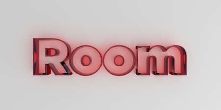 royalty free: Room - Red glass text on white background - 3D rendered royalty free stock image.