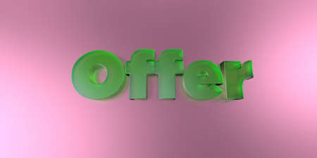Offer - colorful glass text on vibrant background - 3D rendered royalty free stock image.