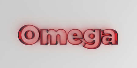 royalty free: Omega - Red glass text on white background - 3D rendered royalty free stock image.